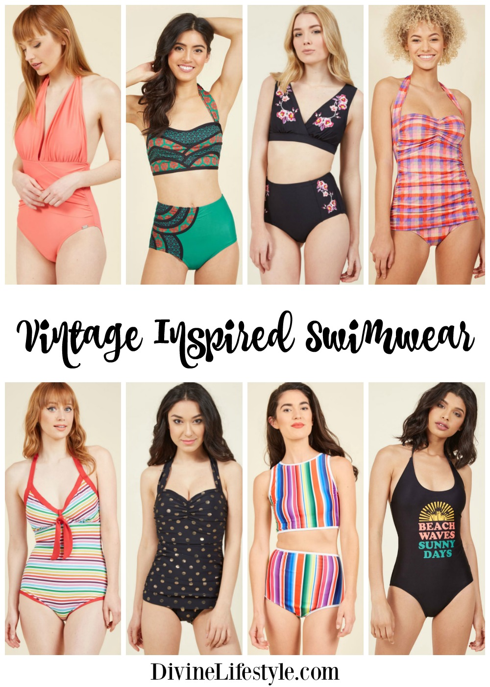 f46509670f Vintage Inspired Swimwear for Women Bathing Suits Summer