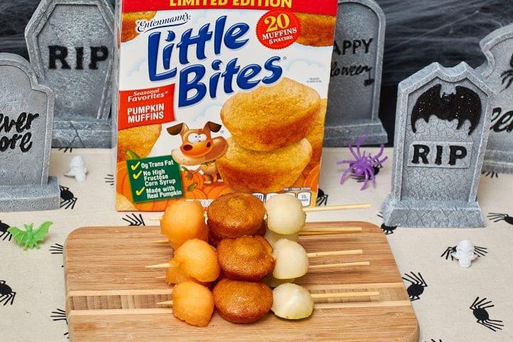 Entenmann's Little Bites Pumpkin Muffins Halloween Class Party Snack Kabobs #LoveLittleBites