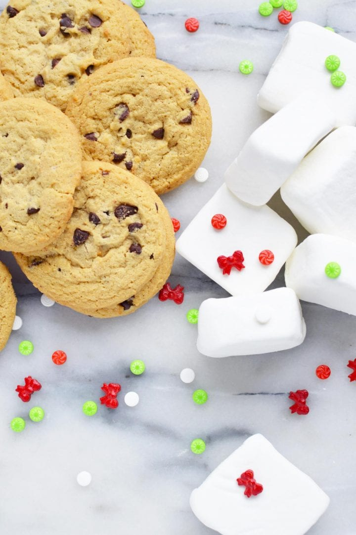 Holiday candy dipped cookie marshmallow sandwiches recipe