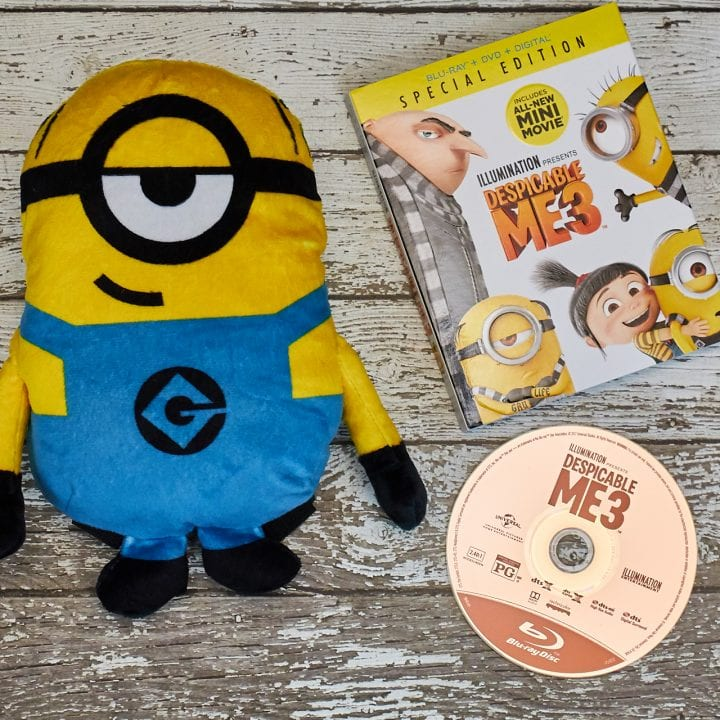 Minion stocking stuffers like Despicable Me 3 and this Minion plushie are great gifts.
