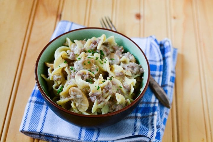 Bowl of slow cooker ground beef stroganoff on a blue tablecloth.