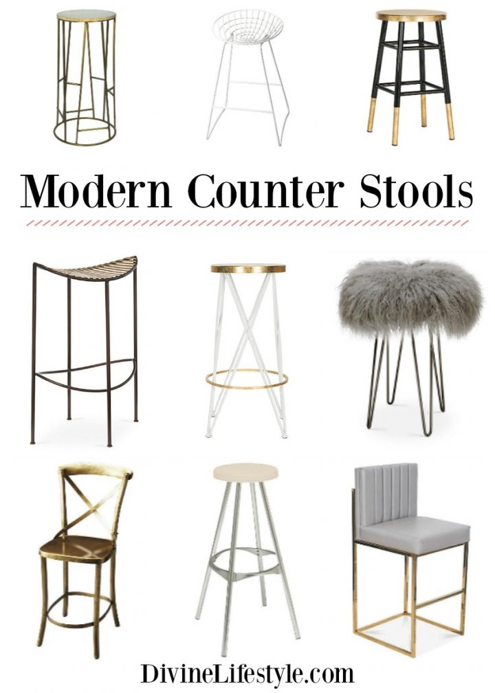 counter black modern stool polished kristen stools gold