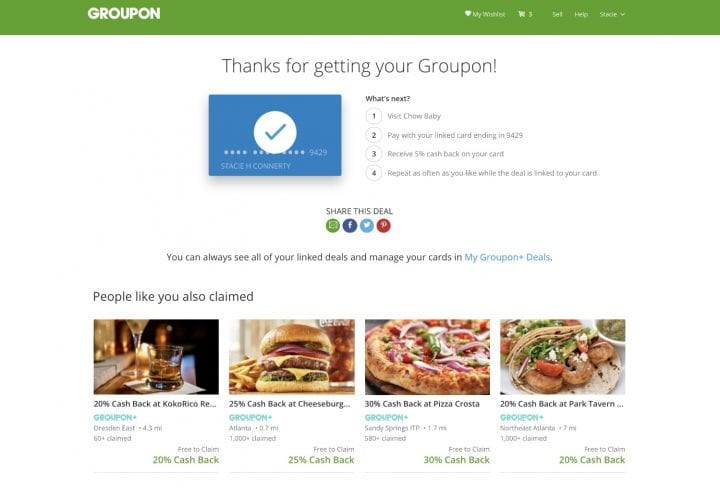 Earn Cash Back from Restaurants with Free Groupon+ Deals #GrouponPlus