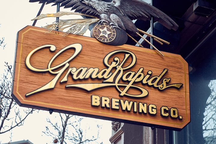GrandRapids Brewing Co. sign.