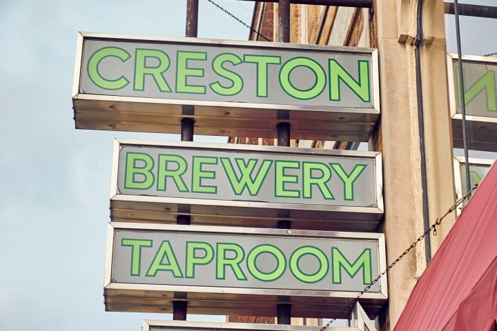Creston Brewery Taproom sign.