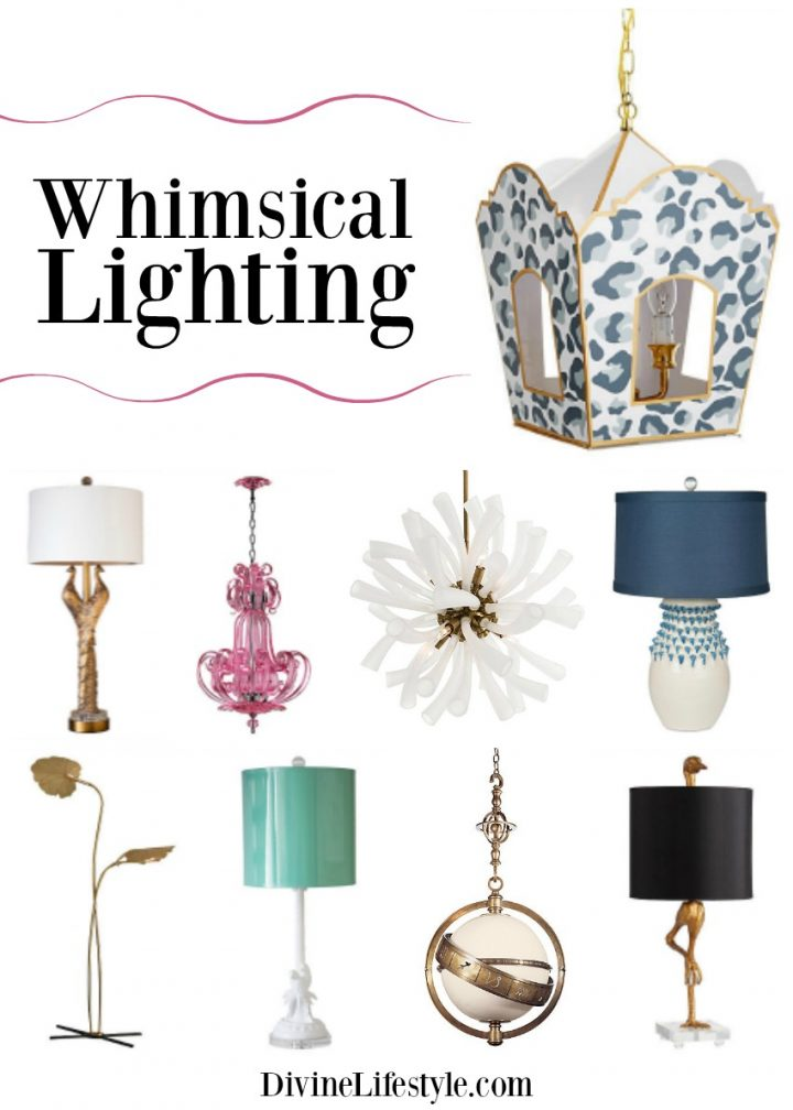 Collage of different options for whimsical lighting for your home.