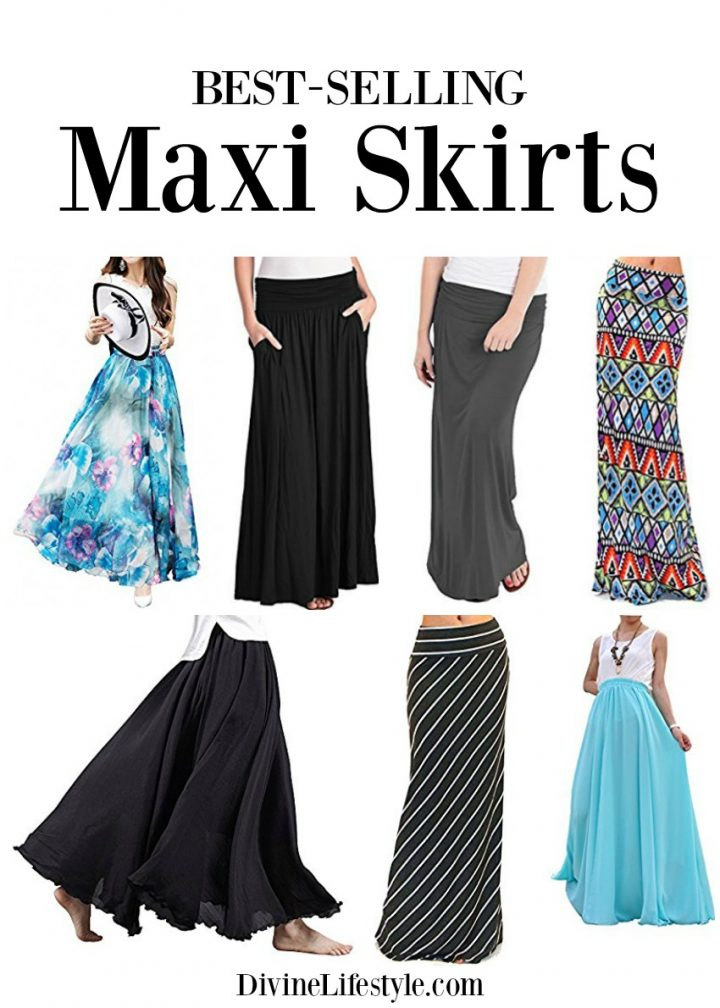 Collage of best selling maxi skirts.