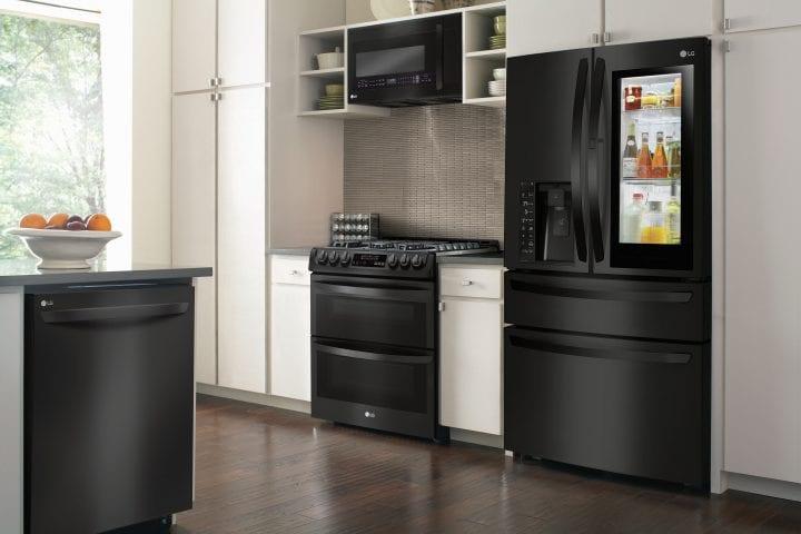 LG Matte Black Stainless Steel Kitchen Appliances
