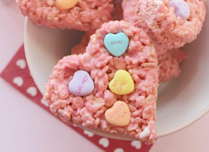 Conversation Hearts Rice Krispies Treats