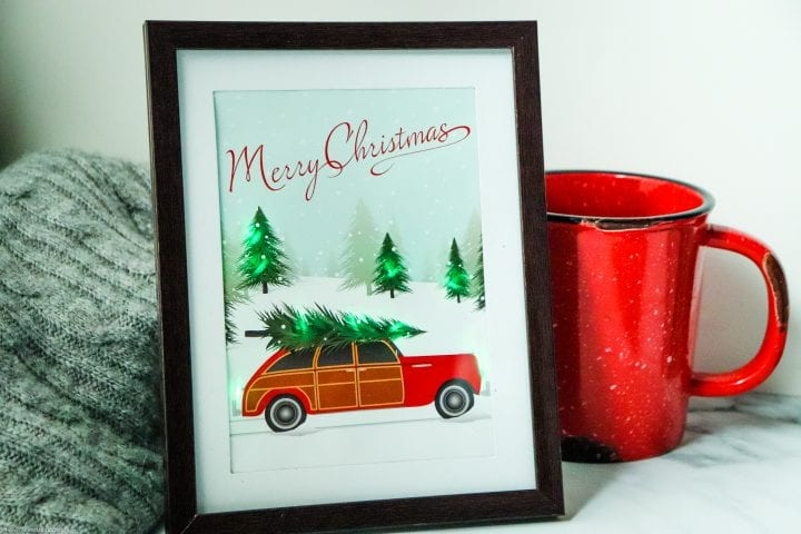 DIY Lighted Red Station Wagon Christmas Decor