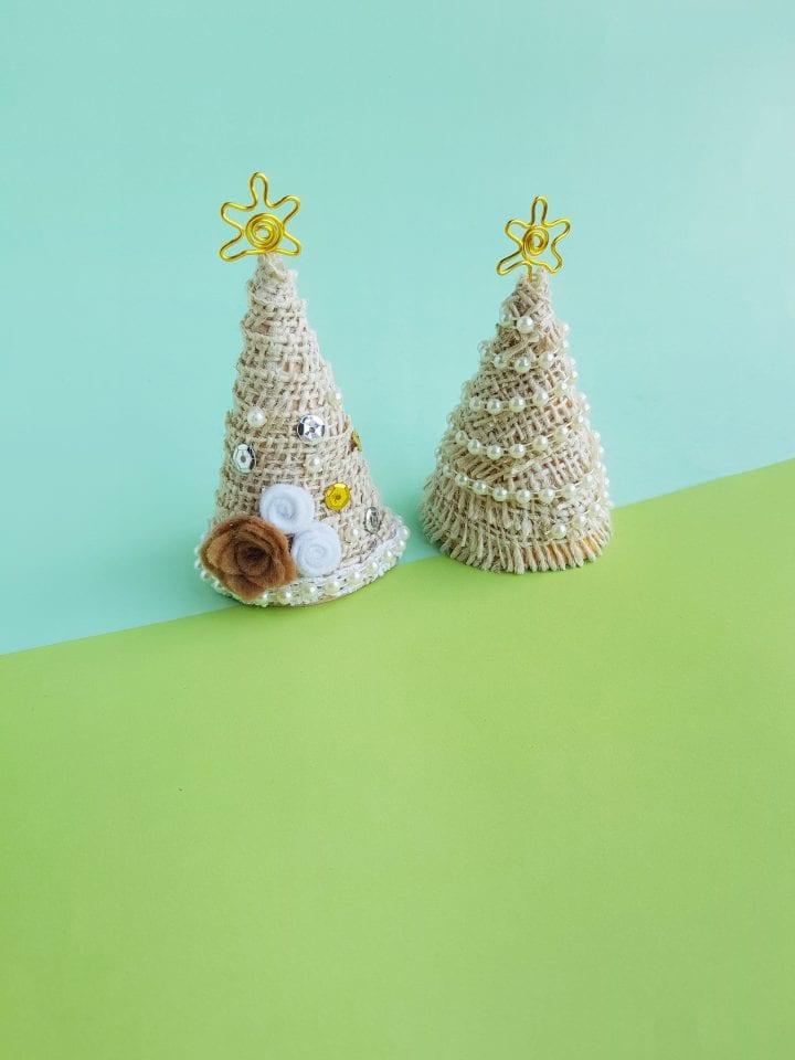 DIY Mini Vintage Christmas Trees Centerpiece