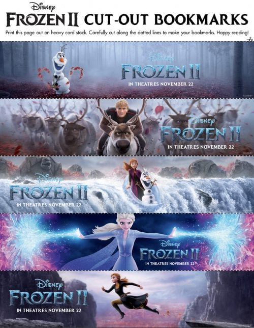 FROZEN II Printables Recipes Activity Sheets and Games #DisneyFrozen Frozen II Bookmarks