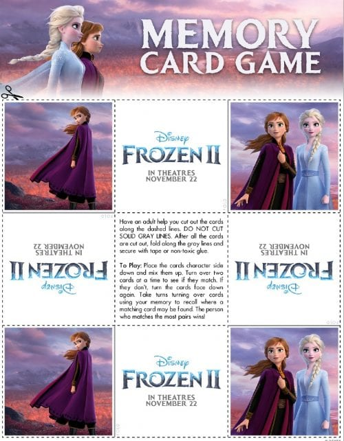 FROZEN II Printables Recipes Activity Sheets and Games #DisneyFrozen Memory Card Game
