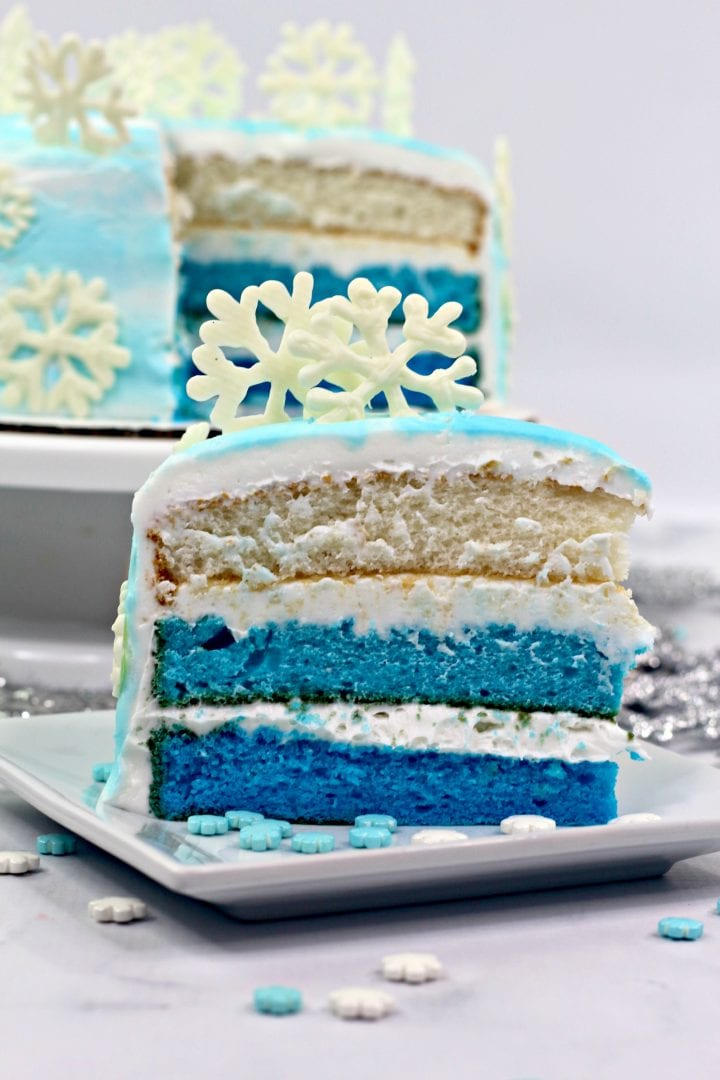 FROZEN Inspired Ombre Blue 3 Layer Cake Recipe
