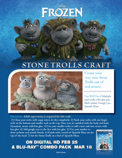 FROZEN II Printables Recipes Activity Sheets and Games #DisneyFrozen Stone Trolls Craft
