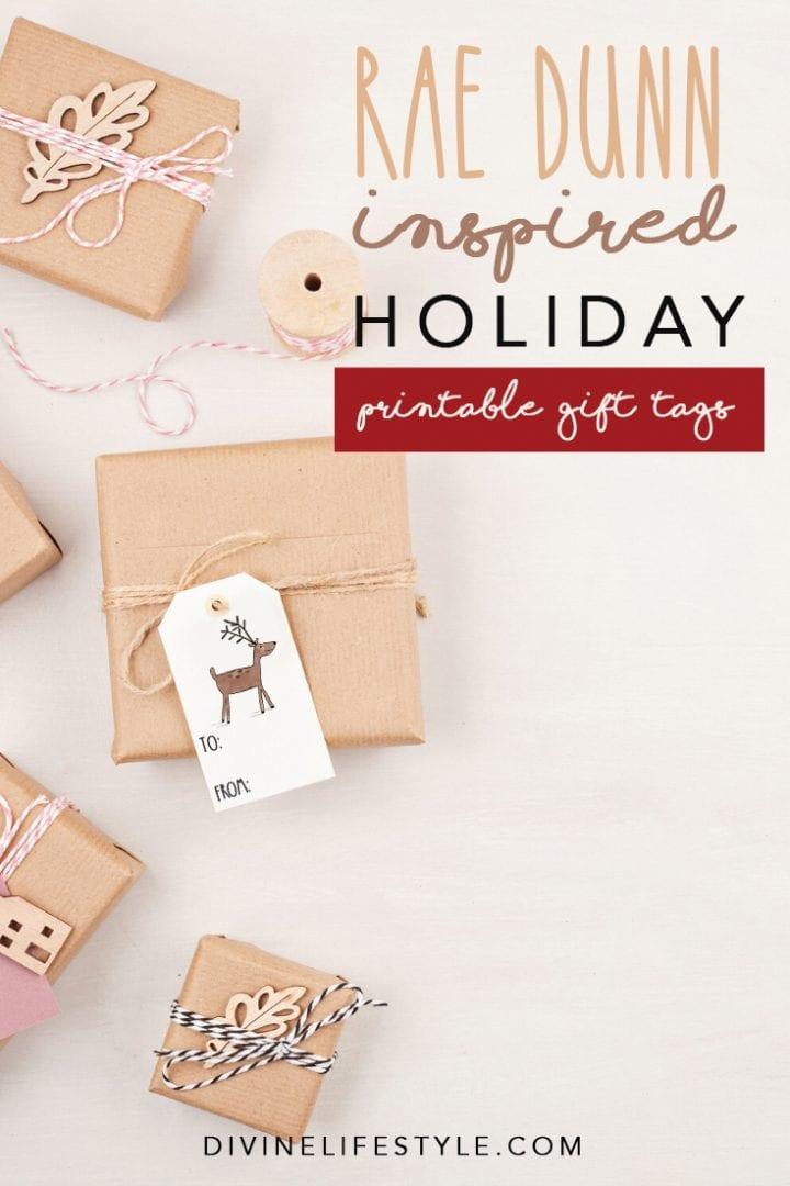 Printable Rae Dunn Inspired Christmas Gift Tags