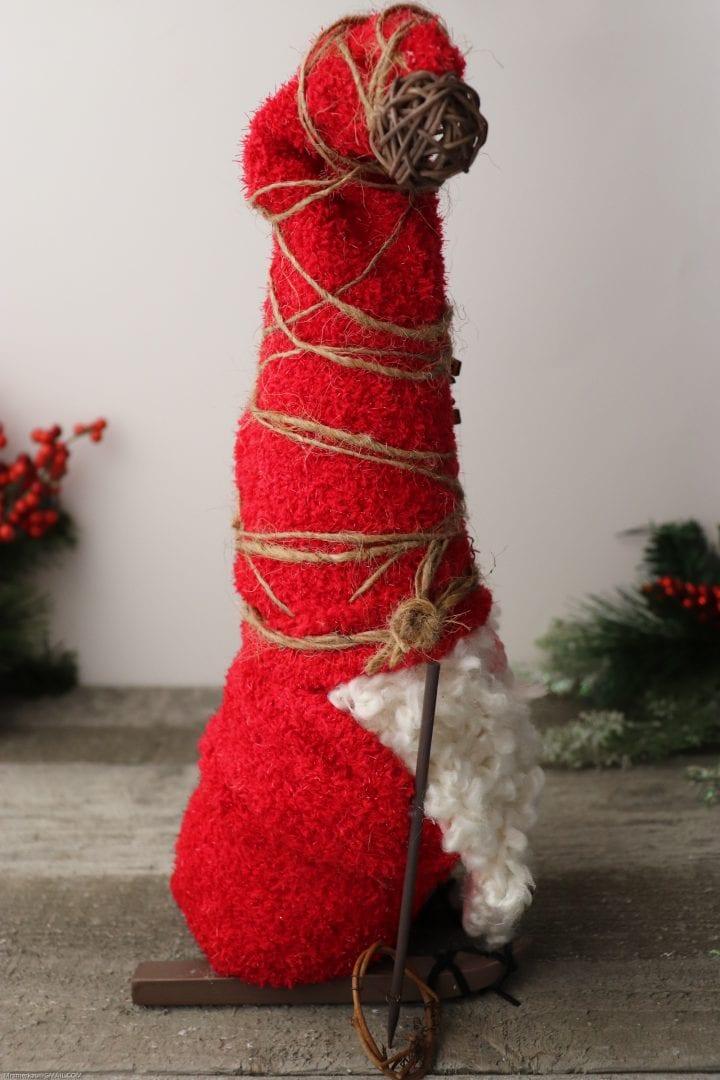 DIY Red Christmas Gnome on Skis