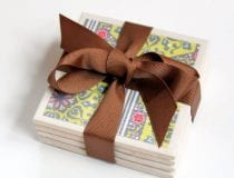 Easy DIY Tile Coasters Wrapped Tile Coaster Christmas Gift