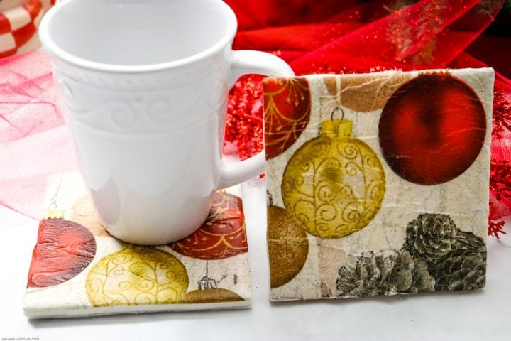 DIY Christmas Ornament Tile Coasters