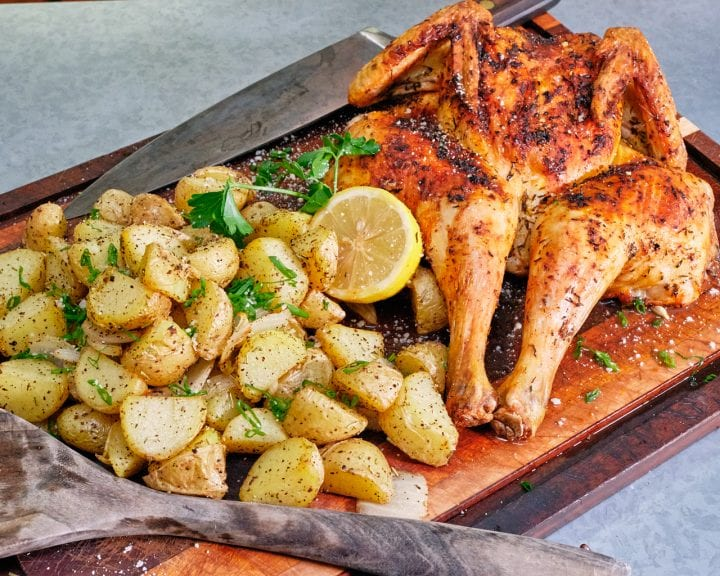 Best Air Fryer Whole Chicken Spatchcock Style with potatoes