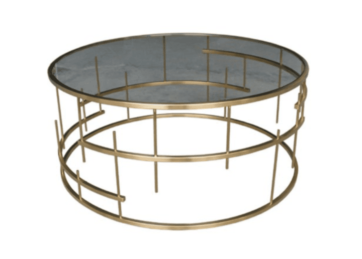 Chic Sitting Room Ideas One Kings Lane Loyola Round Coffee Table in Gold