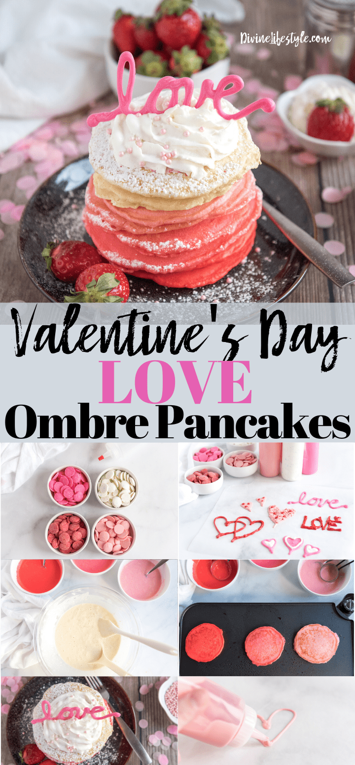 Valentine's Day LOVE Ombre Pancakes Recipe 1
