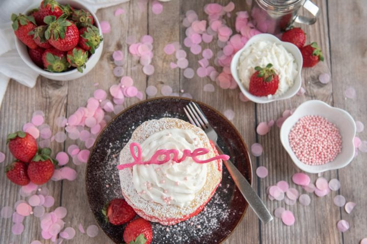 Valentine's Day LOVE Ombre Pancakes Recipe Top down