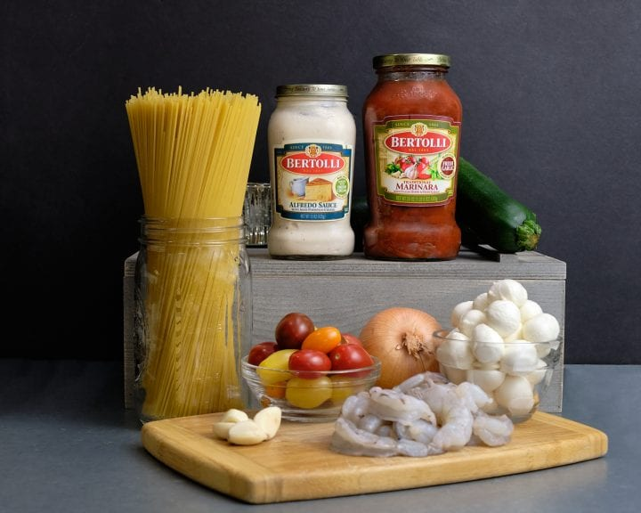 Valentines Day Dinner: Best Shrimp Pasta with Rosa Sauce Recipe - Bertolli Ingredient Shot
