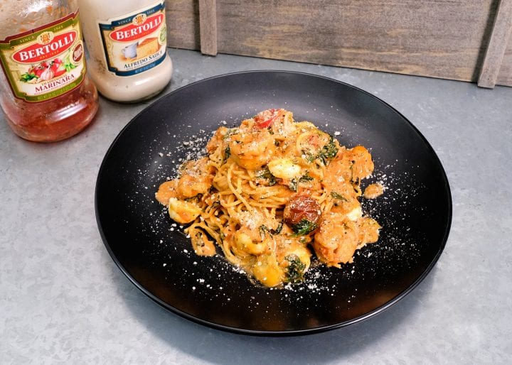 Valentines Day Dinner: Best Shrimp Pasta with Rosa Sauce Recipe- Plated with Bertolli Jars