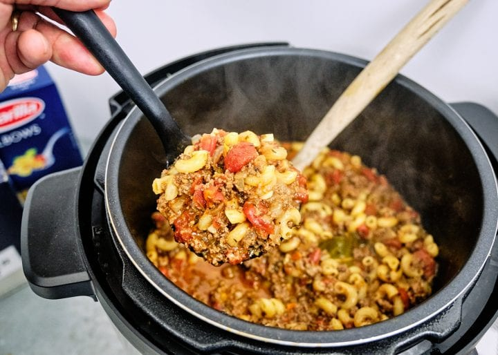 Instant Pot American Goulash Recipe - Finished in Ladel
