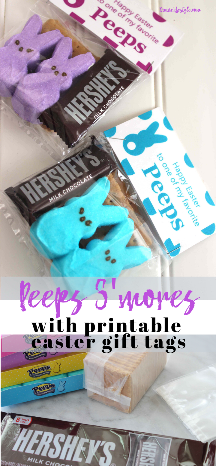 Marshmallow Peeps Smores Recipe with Easter Gift Tag Printables