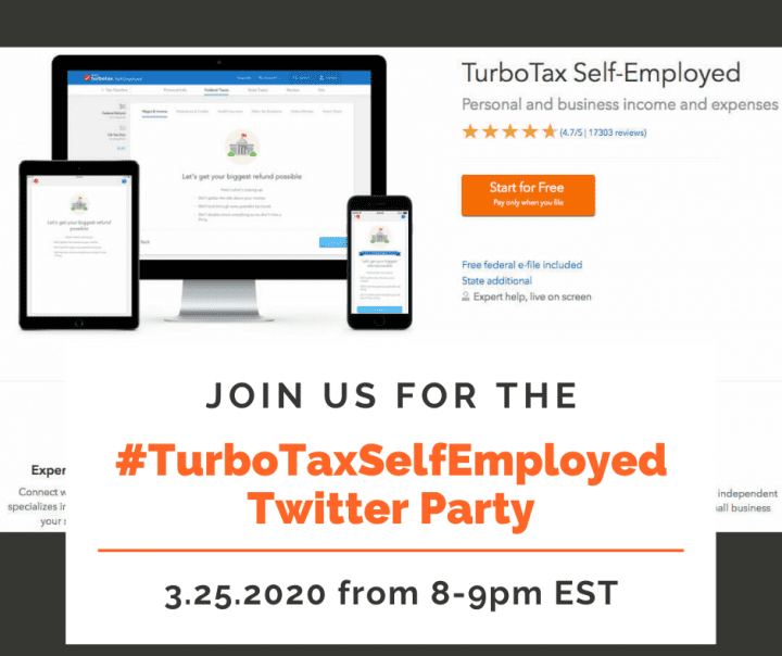 RSVP for the #TurboTaxSelfEmployed Twitter Party 3.25.2020 8-9pm EST