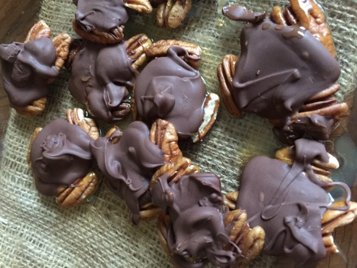 Chocolate Pecan Turtle Clusters