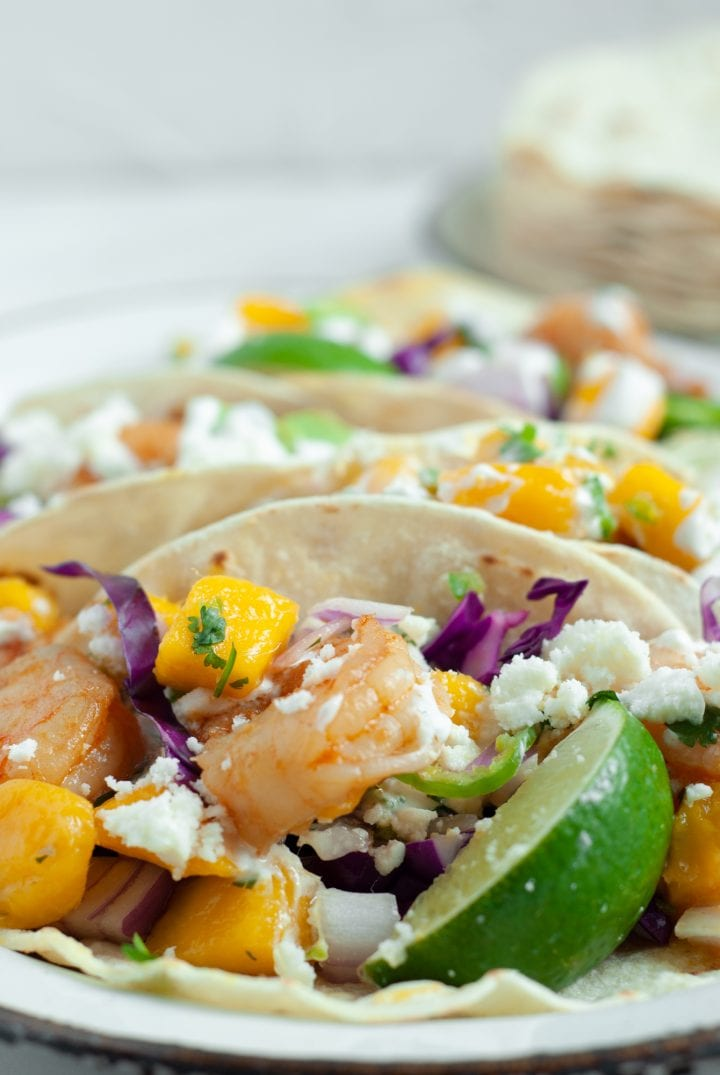 Spicy Sriracha Shrimp Tacos with Spicy Mango Salsa and Creamy Cilantro Sauce