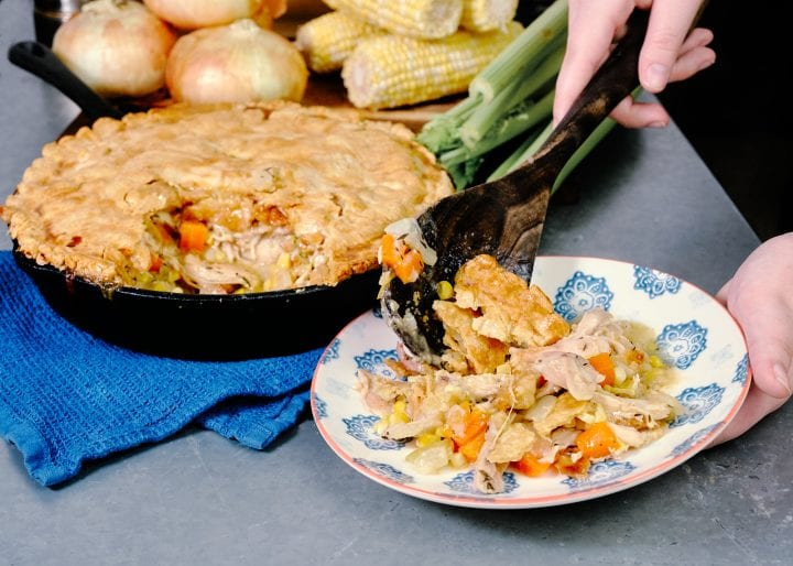 Cast Iron Vidalia Onion Chicken Pot Pie - plated