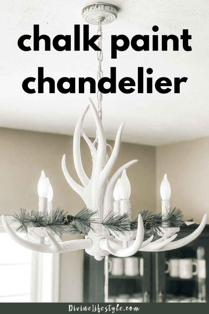 Chalk Paint Upcycle Antler Chandelier DIY