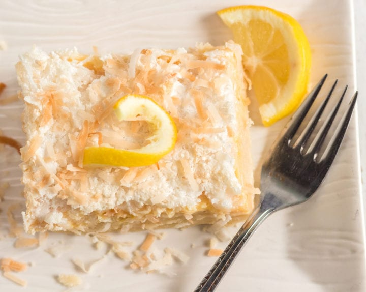 Coconut Meyer Lemon Bar Recipe with Crumb Topping