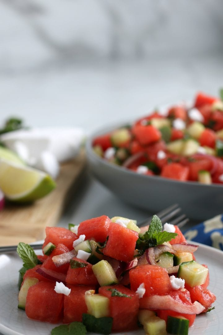 Easy Greek Style Watermelon Feta Mint Salad Recipe watermelon feta salad