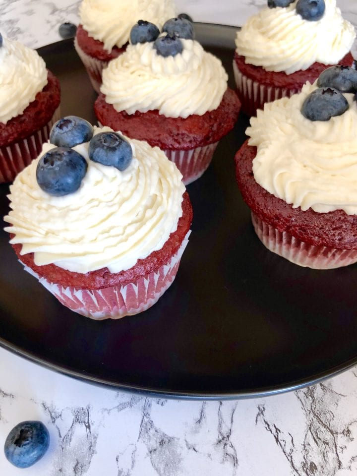 4th of July Red Velvet Cupcakes Finished in Cupcake Pan