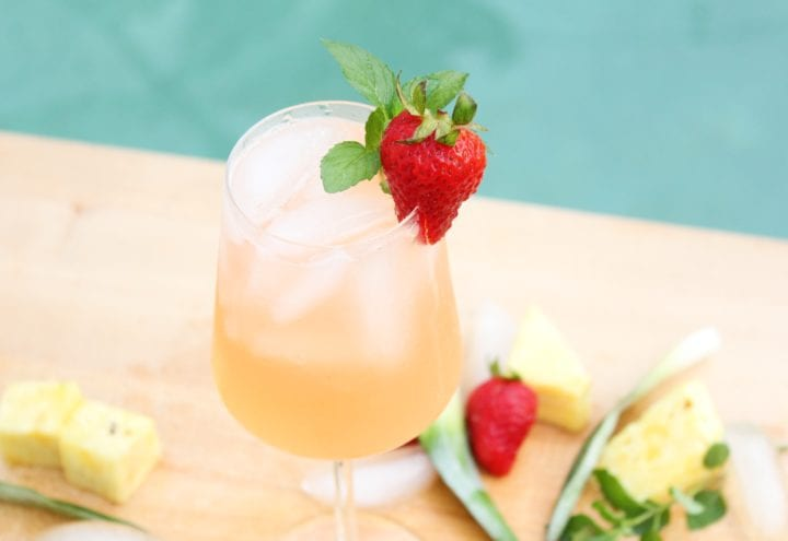 Roasted Pineapple Strawberry Mojito Pitcher Recipe - Angle 2