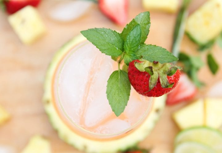 Roasted Pineapple Strawberry Mojito Pitcher Recipe - Top down