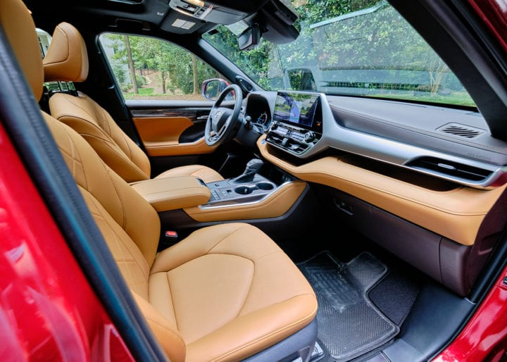 2020 Toyota Highlander Hybrid Platinum interior from outside