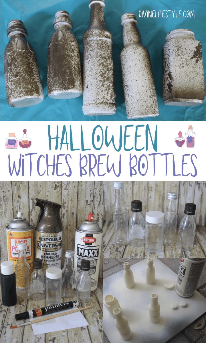 DIY Halloween Witches Brew Ingredients Bottles