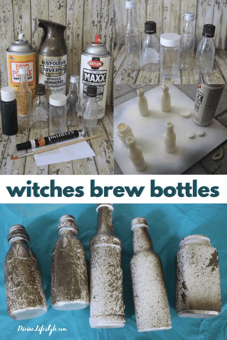 DIY Halloween Witches Brew Ingredients Bottles halloween witch potions halloween witch decorations diy witches lair halloween decorations