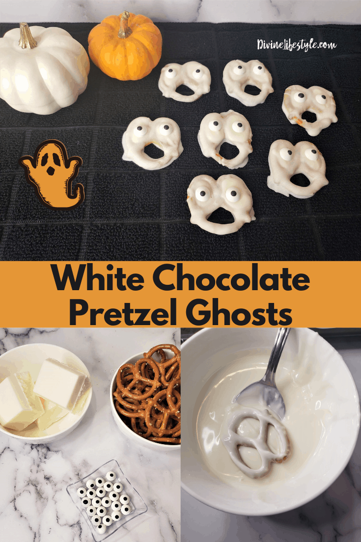 Ghost White Chocolate Dipped Pretzels Halloween