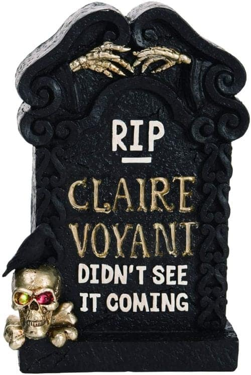 Light Up Black Tombstone for Claire Voyant with Golden Skulls